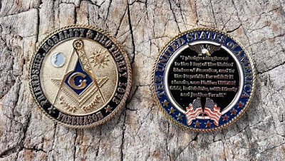 Masonic Challenge Coin with Pledge of Allegiance