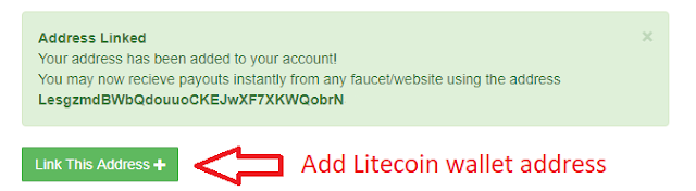 FaucetHub - linking Litecoin wallet to receive faucet earnings
