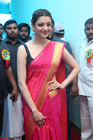 Kajal Aggarwal in Red Saree Sleeveless Black Blouse Choli at Santosham awards 2017 curtain raiser press meet 02.08.2017 007.JPG