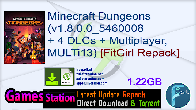 Minecraft Dungeons (v1.8.0.0_5460008 + 4 DLCs + Multiplayer, MULTi13) [FitGirl Repack]