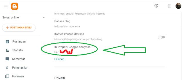 Id properti Google analytic