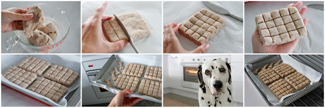 Step-by-step shaping homemade dog treats into segmented bars