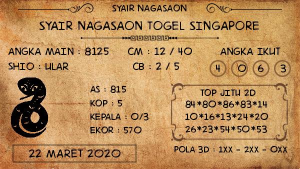 Prediksi Togel Singapura Minggu 22 Maret 2020 - Prediksi Nagasaon SGP