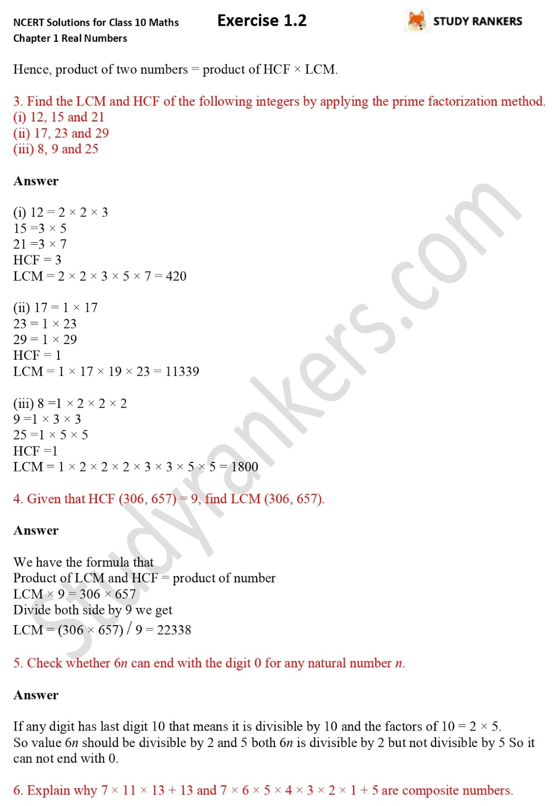 NCERT Solutions for Class 10 Maths Chapter 1 Real Numbers Exercise 1.2 2