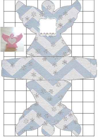 Free Printable Light Blue and Grey Zigzag Angel Shaped Box