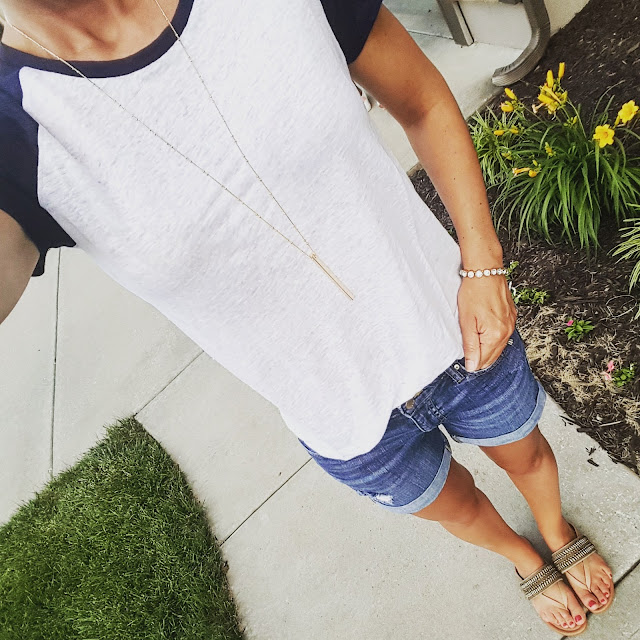 Merona Baseball Tee - on sale for only $10! // Gap Factory Shorts (similar) // Arturo Chiang Lyra Sandals - only $37 (reg $69) // ILY Couture Bracelet // BP Bar Pendant Necklace - only $18
