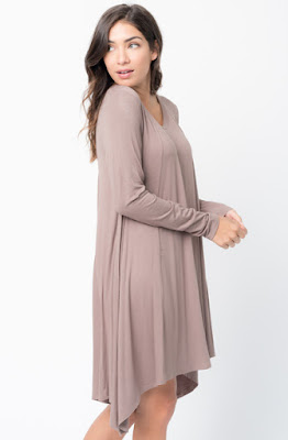 Buy Now mocha Back Raglan Draped Dress Online $38 -@caralase.com