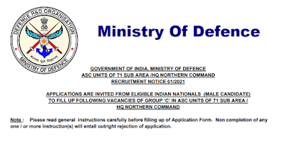 Ministry Of Defence Recruitment - 42 Civilian Motor Driver, Fireman, More - Last Date: 10th June 2021