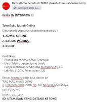 Walk In Interview di Toko Buku Murah Online Surabaya Januari 2021