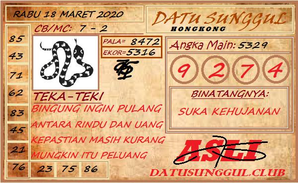 Prediksi Togel JP Hongkong Rabu 18 Maret 2020 - Syair Datu Sunggul HK