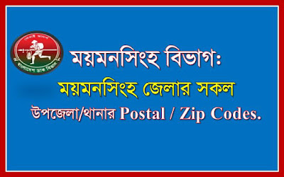 Postal codes of all the Upazilas/Thanas of Mymensingh district.