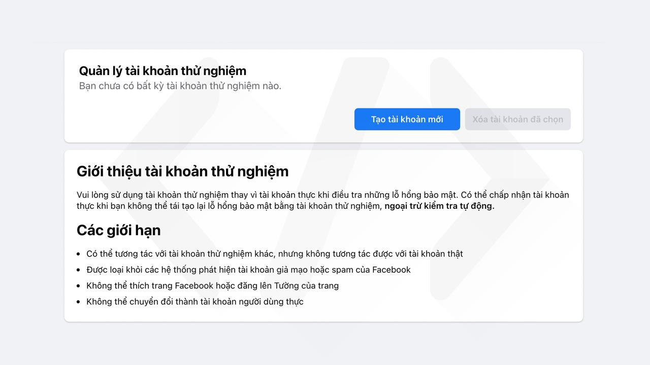 Hướng dẫn tạo tài khoản thử nghiệm Facebook bước 2