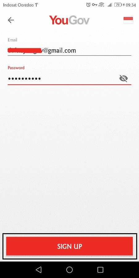 masukkan email dan password untuk membuat akun yougov