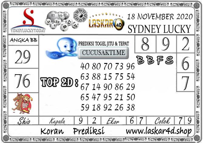 Prediksi Sydney Lucky Today LASKAR4D 18 NOVEMBER 2020