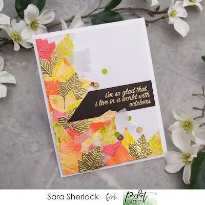 Picket Fence Studios October Release Card: Oak Leaves Die, Maple Leaves Die, Ash Leaves Die, A World of October Stamp, Watercolor Leaves, Watercolor Die Cuts