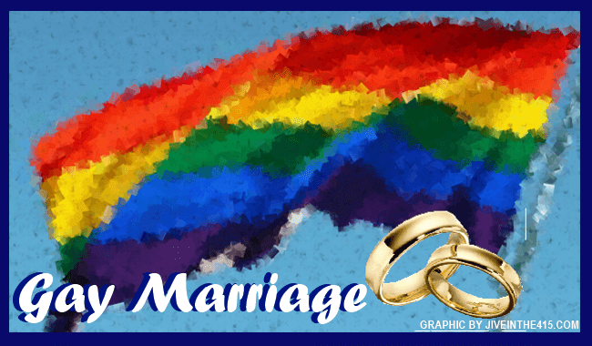 The gay rainbow flag flies with two gold wedding rings superimposed over the rainbow flag. jiveinthe415.com