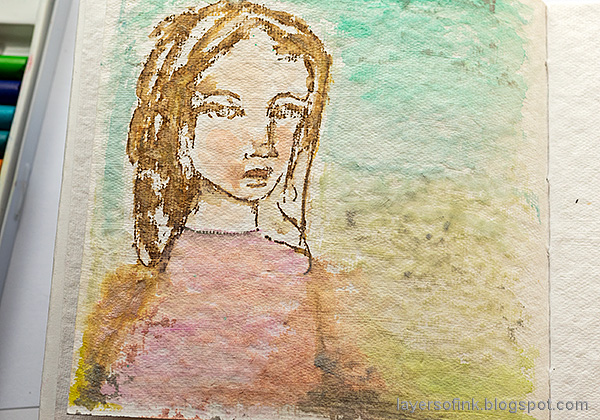 Layers of ink - Pastel Journal Page Tutorial by Anna-Karin Evaldsson. Watercolor the background and add shadows.