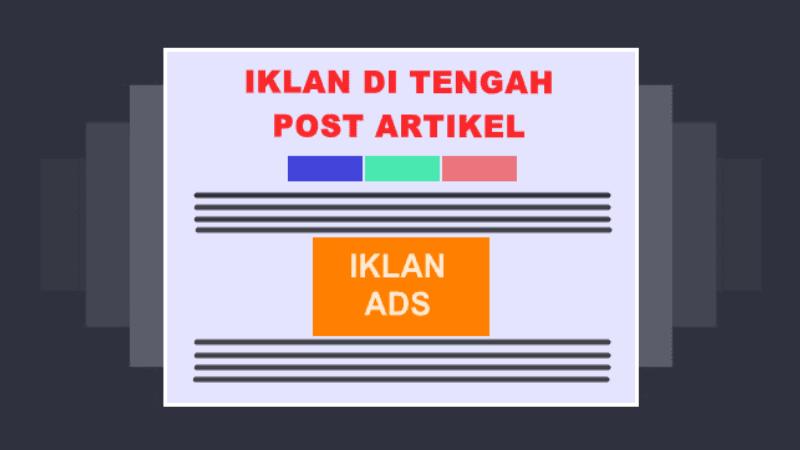 cara pasang iklan adsense tengah postingan