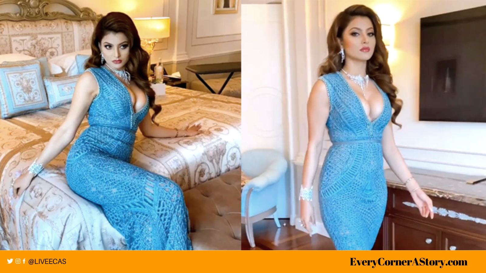urvashi rautela hot blue gown cleavage boob every corner a story