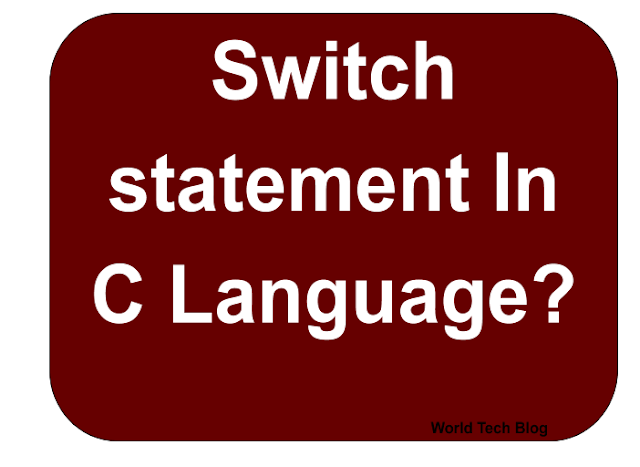 switch statement in c