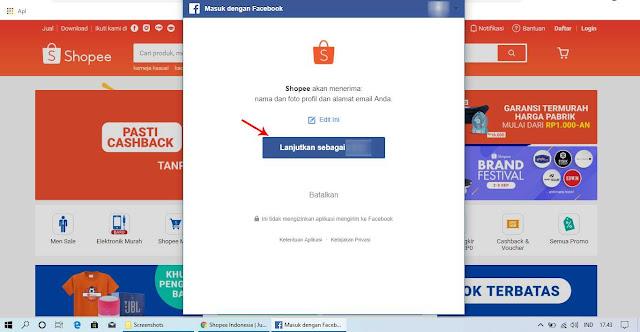 Cara Daftar Akun Shopee dengan Menggunakan Facebook