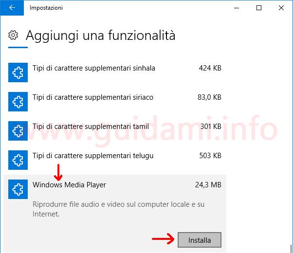 Impostazioni Windows 10 Aggiungi una funzionalità
