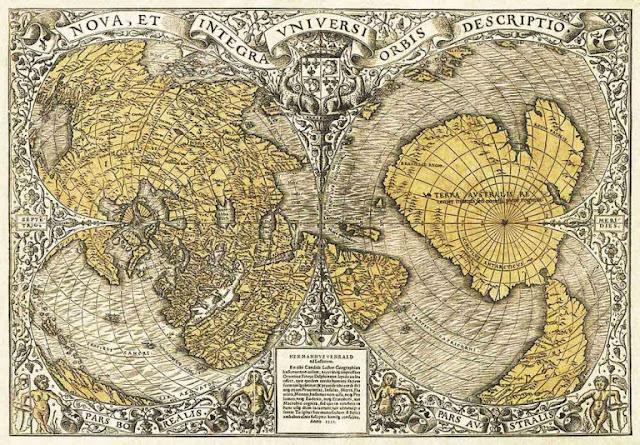"""Año 1531: El mapa Oronteus Finaeus muestra la Antártida antes de ser """"descubierta"""" y cómo se veía libre de hielo. En el mapa pueden apreciarse ríos, valles y montañas."""