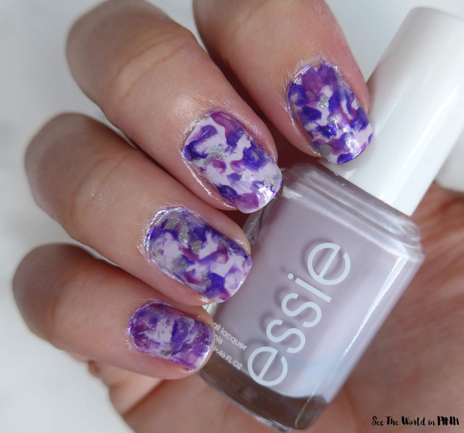 Manicure Monday - Purple and Glitter Smoosh Nails