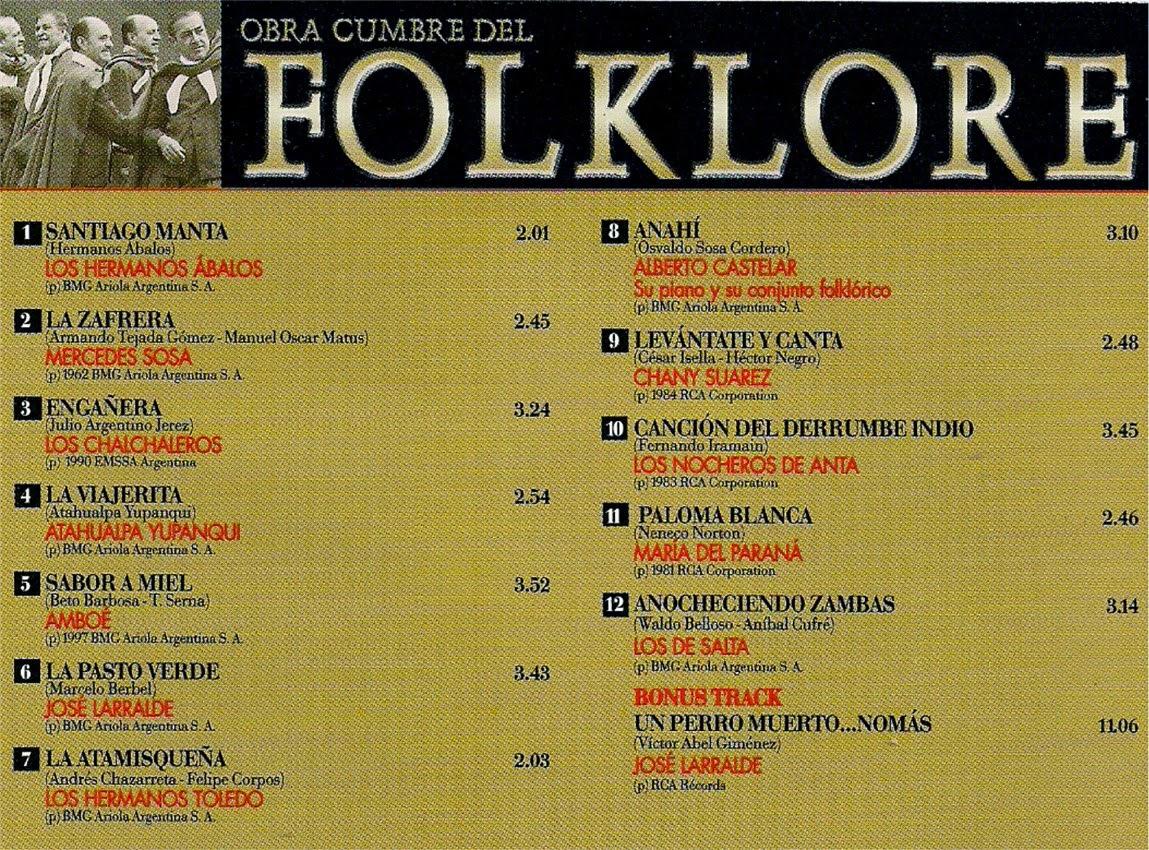 obras cumbres del folklore  contratapa