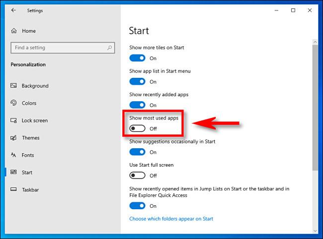 """في إعدادات Windows 10 ، انقر فوق مفتاح """"إظهار التطبيقات الأكثر استخدامًا"""" لإيقاف تشغيله"""
