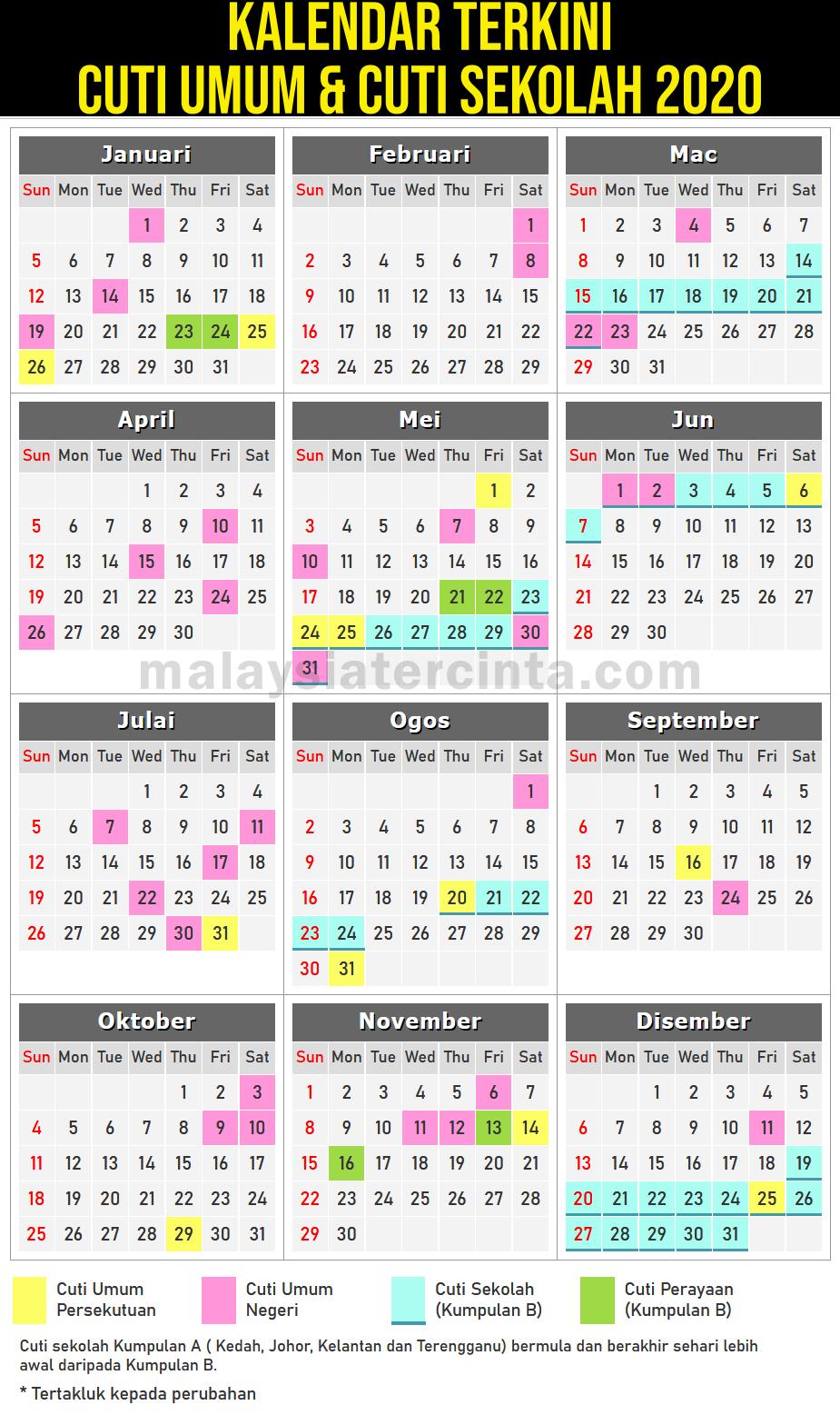 kalendar cuti umum dan cuti sekolah 2020
