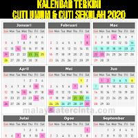 Kalendar Cuti Umum Dan Cuti Sekolah 2020 Terkini
