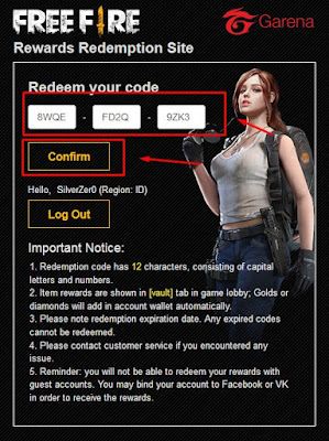 Masukan kode Redeem Free Fire