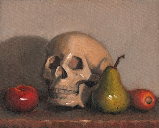 Still life oil painting of a plastic skull beside a tomato, a pear and a carrot.