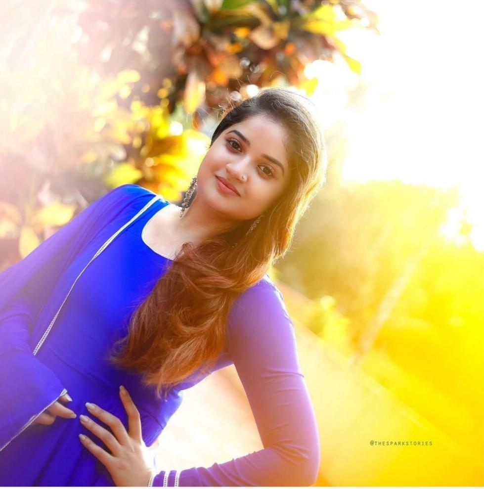 South Indian Actress Shafna Nizam Looking Beautiful in Blue Dress