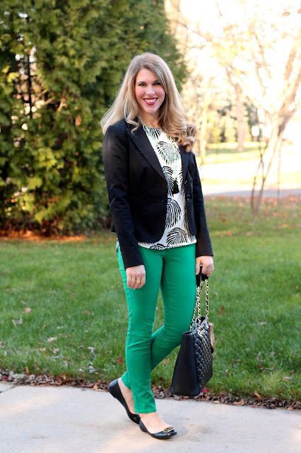 palm print top, black blazer, green jeans, tassel necklace, greg michaels tote