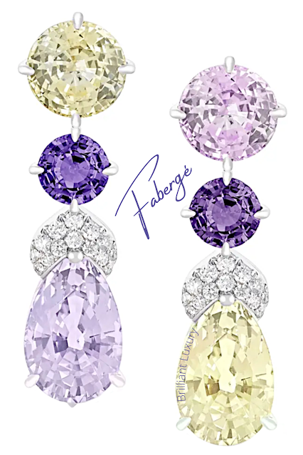 Fabergé Délices d'Été drop earrings feature pink, yellow & purple sapphires and round white diamonds #brilliantluxury