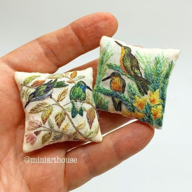 Handmade Embroidery on Mini-Cushions for Dollhouses