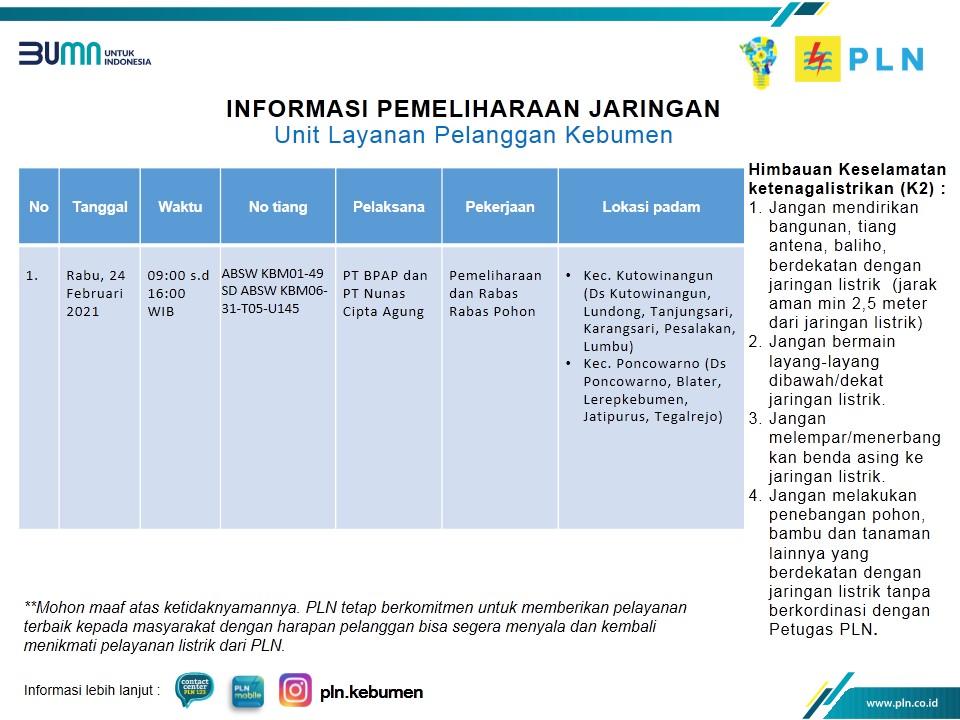 Ini Jadwal Pemadaman Listrik di Kebumen Rabu 24 Februari 2021
