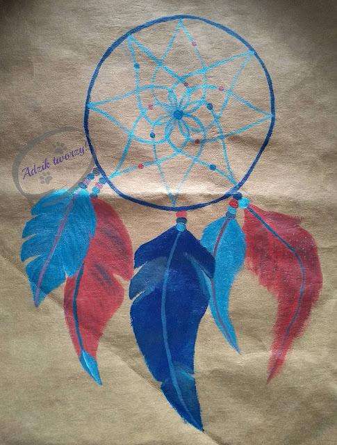 łapacz snów DIY na tkaninie ręcznie malowany