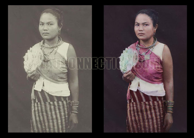 Ethnic Pu Tay woman from Savannakhet wearing wedding attire, c. 1920.