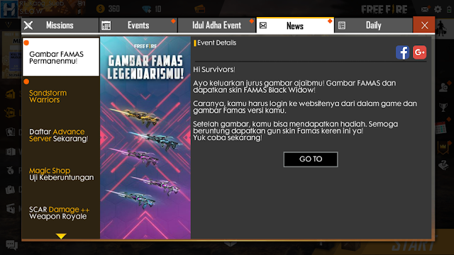 Event Menggambar Skin Famas Legendaris Black Widow Free Fire