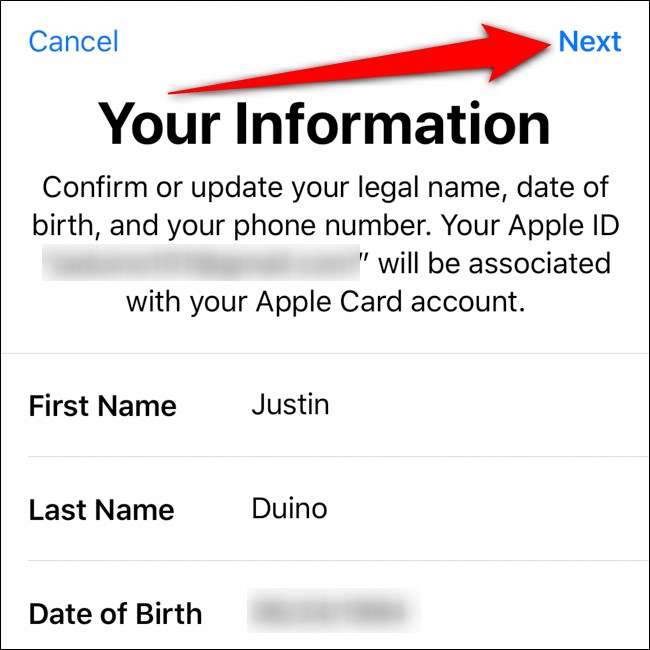 محفظة iPhone تأكيد معلوماتك انقر فوق التالي