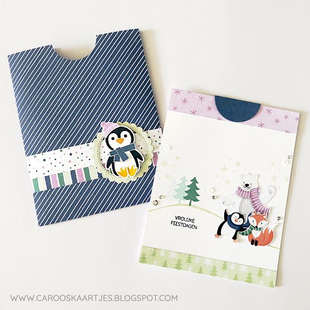 Pocket kaart gemaakt met de stempelset Pinguïnpret van Stampin' Up!