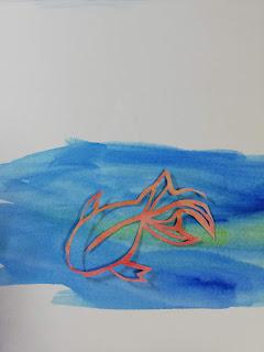 アクリル絵の具で輪郭を彩色した切り絵(濃い背景)