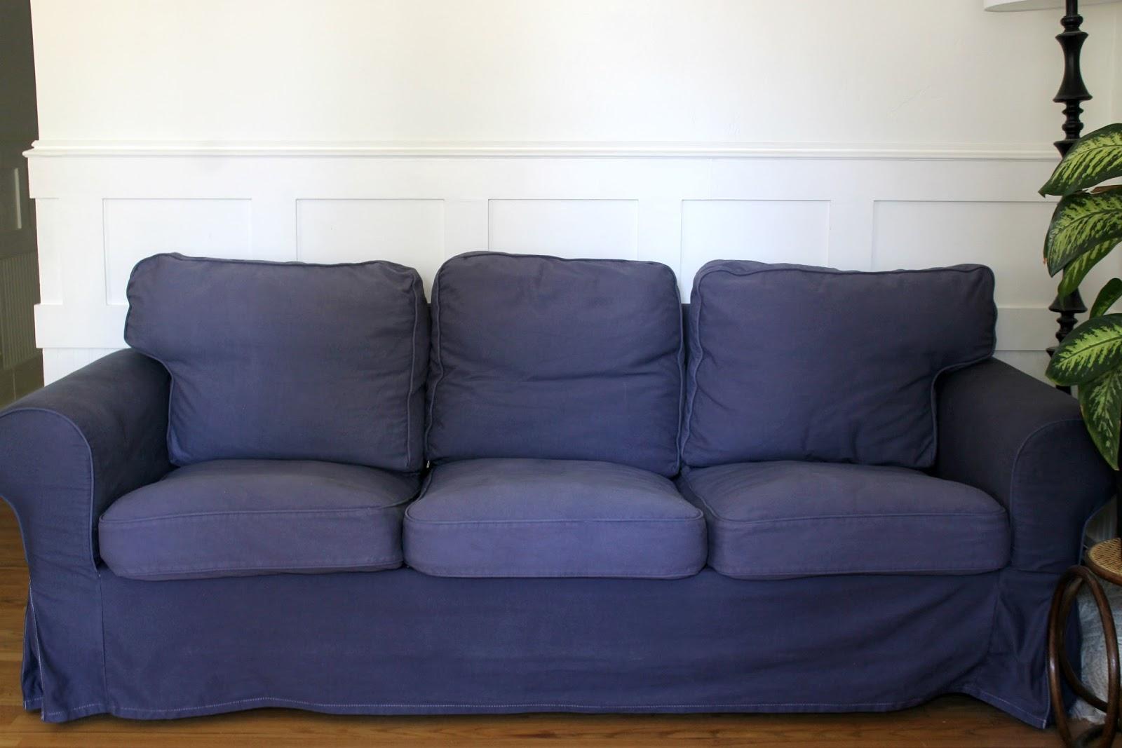 white ikea ektorp sofa navy blue