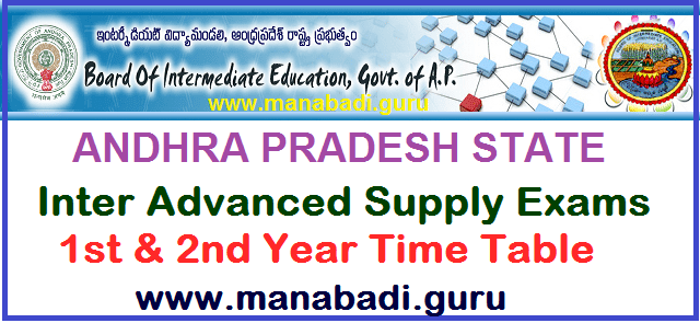 AP Time Tables, TS Time Tables, AP Inter Advanced Supply Time Table, Inter, Time Table, AP State