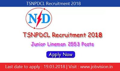TSNPDCL Recruitment 2018