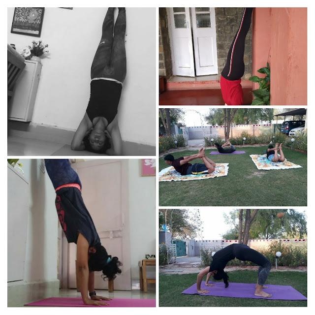 Anita demonstrating various Yoga poses