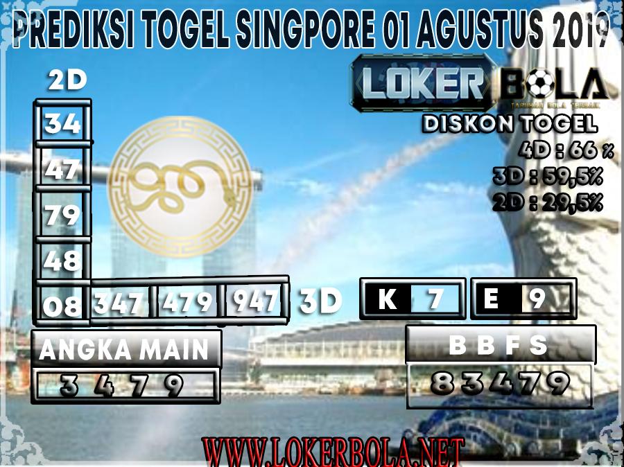 PREDIKSI TOGEL  LOKERBOLA SINGAPORE 01 AGUSTUS 2019